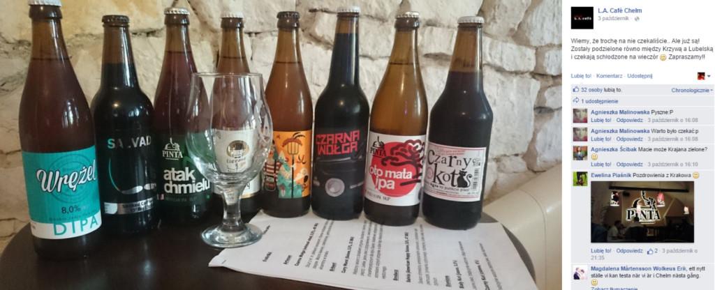 Duży wybór piw kraftowych w LA Cafe